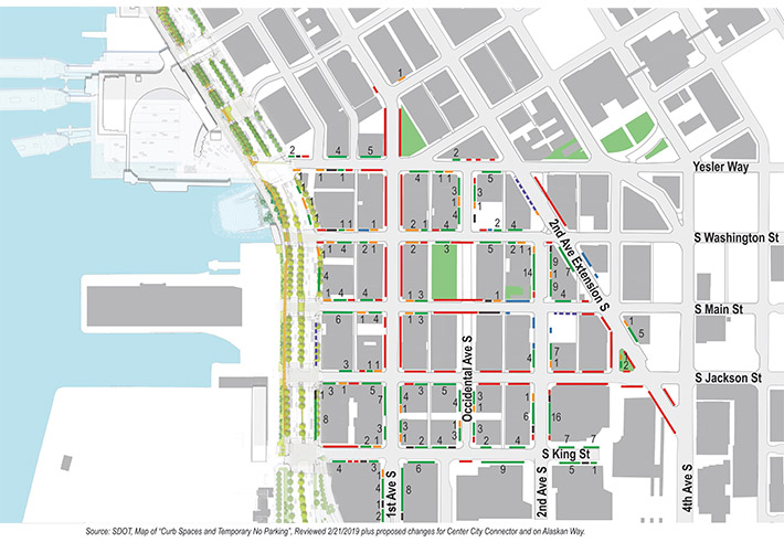 Map showing expected areas for parking in Pioneer Square in 2025. If this project is not built, there will be spaces for parking and loading on most blocks in the project area, except for select blocks such as the south side of Yesler between the alley west of Alaskan Way and First Avenue, blocks near Occidental Park, and the first block King Street between Alaskan Way and First Avenue.