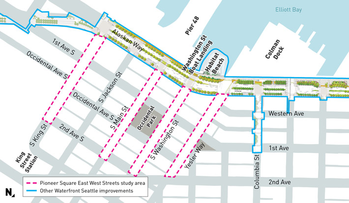 Map of the study area for the project, which run on Main, Washington, King and Yesler streets between Alaskan Way and Second Avenue.
