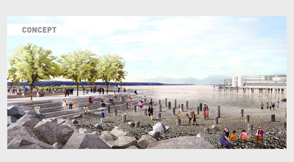 Rendering of people playing on a rocky beach next to a plaza over teh water with trees, seating, and greenery.