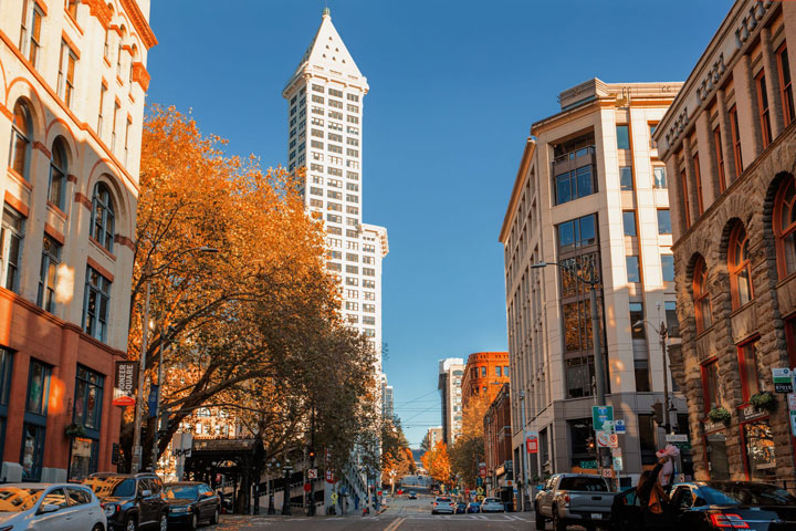 East-facing view of Smith Tower and Sinking Ship parking garage during fall.