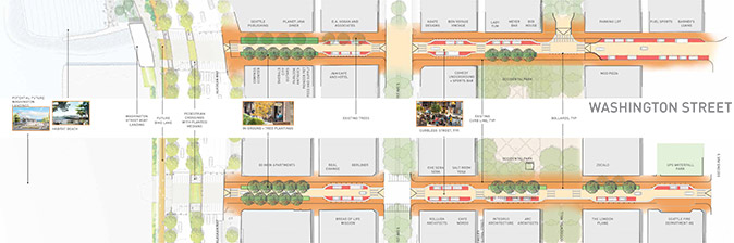 Planview alt text: Map of option 2 for Main and Washington streets, showing a curbless street concept that prioritizes pedestrians, with two lanes of parking/loading clustered closer to 1st Avenue South. This concept has a one-way lane of vehicle traffic on each Main and Washington, with additional space for greenery and street trees. There is also a raised pedestrian crossing at Occidental Avenue.