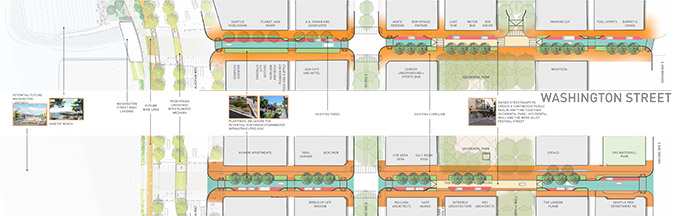 Map of option 3 for Main and Washington streets, showing prioritized pedestrian connections to Occidental Park. This option includes a one-way lane of vehicle traffic on each street, with parking on one side of the street and wider sidewalks. There is also a raised pedestrian crossing at Occidental Avenue.