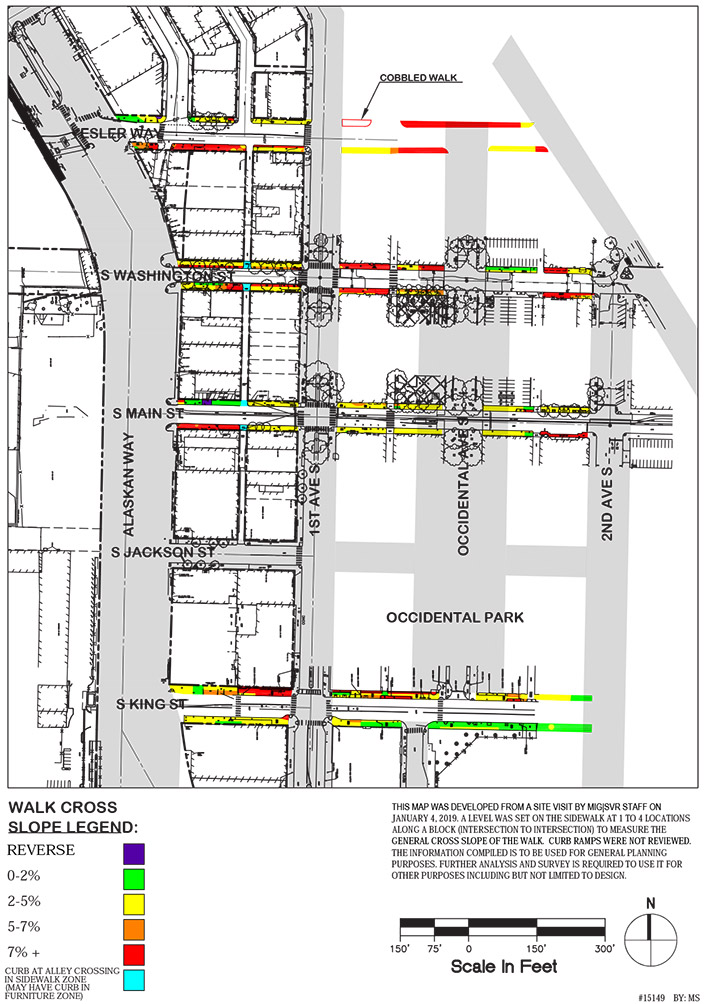 Map of the cross-slope percentages in Pioneer Square in terms of compliance with the Americans for Disabilities Act (ADA). The greatest slopes are on the south block of Yesler Way between Alaskan Way and the alley before First Avenue, along parts of both sides of Washington Street between Alaskan Way and Second Avenue, on the south block of Main Street between Alaskan Way and the first alley, and on the north block of King Street between Alaskan Way and Occidental avenue.