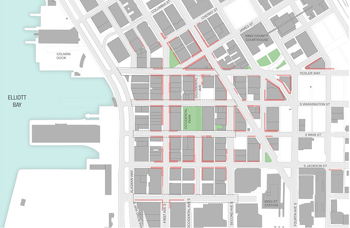 Map highlighting locations of areaways in Pioneer Square, including both sides of most of Yesler, Main, Washington and King streets between Second Avenue and Alaskan Way.